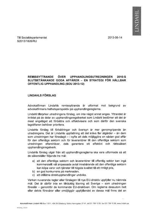 Remissyttrande över upphandlingsutredningen