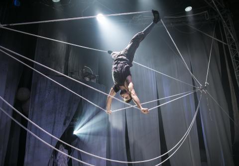 Knitting Peace åter på Dansens Hus 27 december till 2 februari.  Cirkus Cirkörs stickning för fred inspirerar skolklasser, insamlingar och gerillastickningar