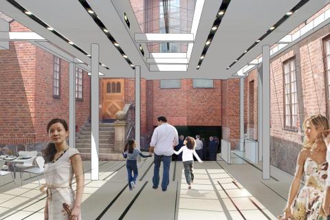 Passage och trappa till Stora salen. Uulas Arkitekter AB
