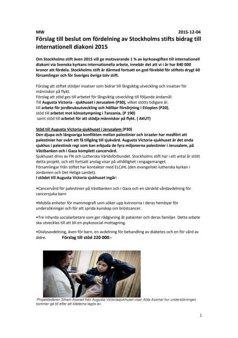 Internationell diakoni - Stockholms stift