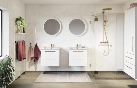 Lagan vit plain, rund spegel, skagenlux guld