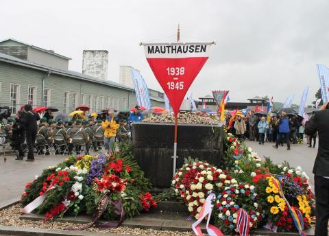 Svensk minnestavla uppsatt koncentrationslägret Mauthausen