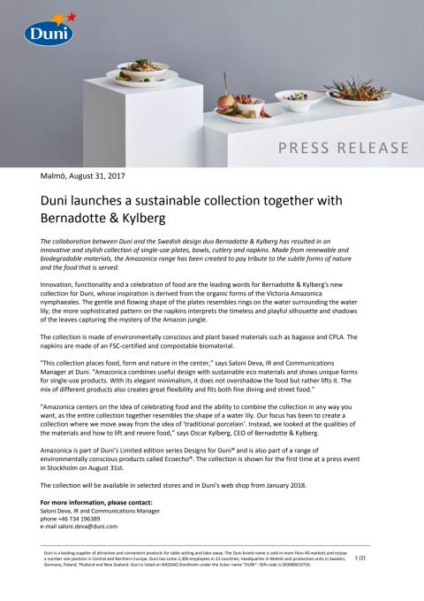 Duni launches a sustainable collection together with Bernadotte & Kylberg
