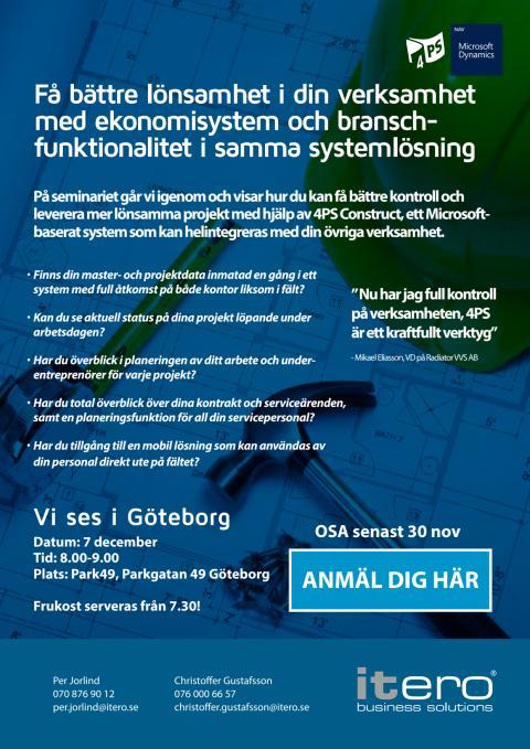 Frukostseminarium: Mer lönsamma byggprojekt med 4PS Construct [Göteborg]