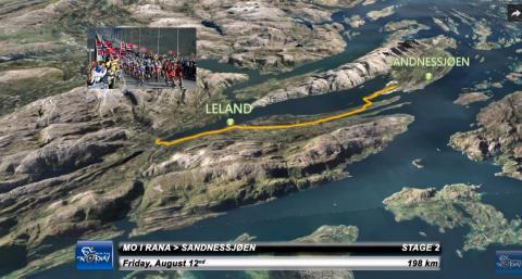 Norkart leverer 3D animasjon over etappene til årets Arctic Race of Norway
