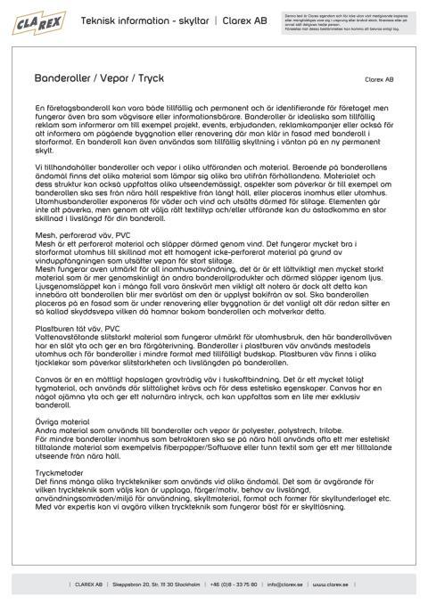 Teknisk information - Banderoller/Vepor och Tryck