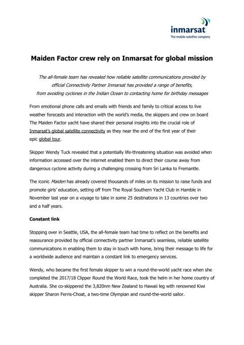Maiden Factor Crew Rely on Inmarsat for Global Mission