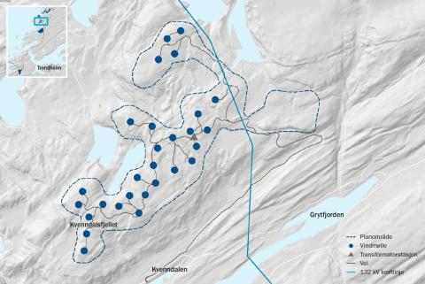 Kart Kvenndalsfjellet vindpark