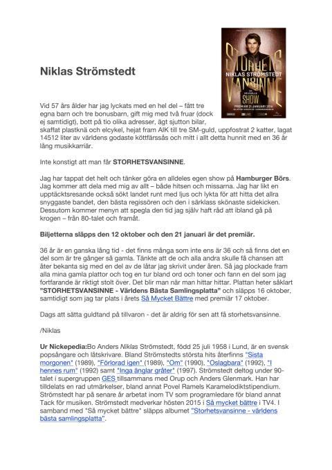 Niklas Strömstedt show PM Storhetsvansinne