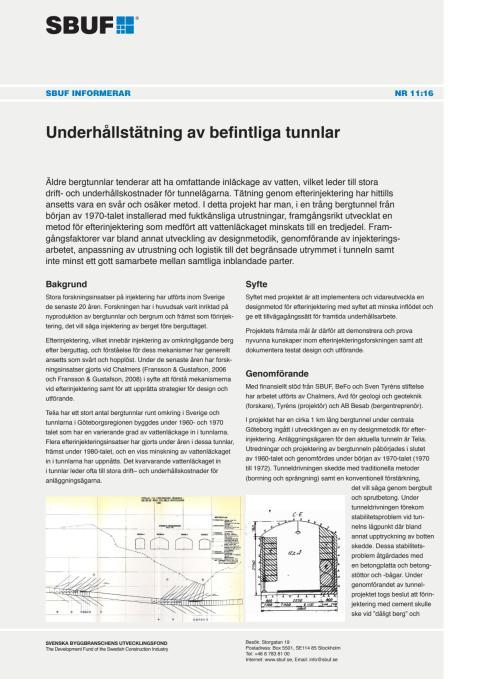 SBUF Informerar, nr. 11-16 Underhållstätning av befintliga tunnlar