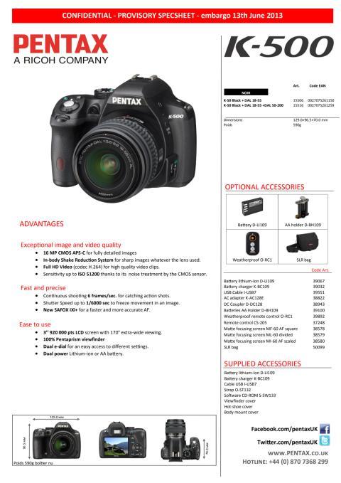 Pentax K-500 - Tekniset tiedot