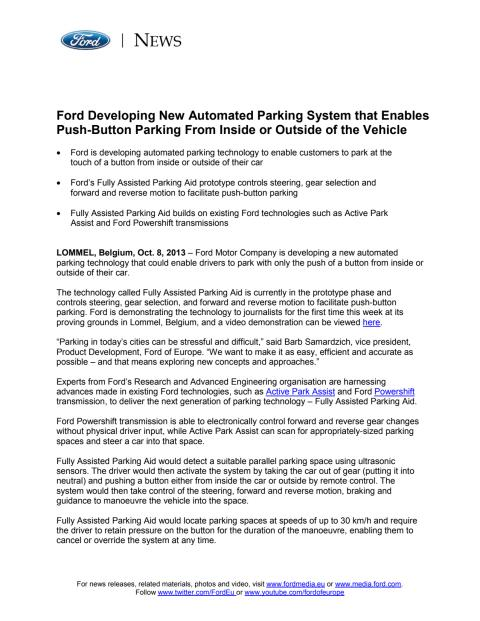 FORD FUTURES - ASSISTED PARKING AID (EU)