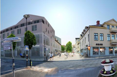 Nya Gnesta centrum sett över Marieströmsgatan