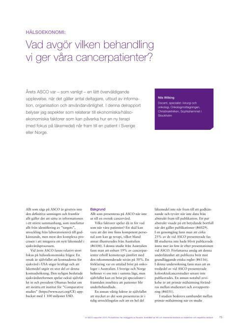 Hälsoekonomi i cancervården - docent Nils Wilking rapporterar från ASCO 2010