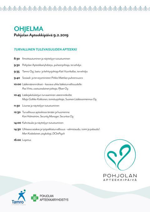 Pohjolan Apteekkipäivä 2019 - ohjelma