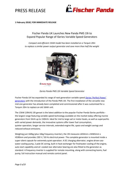 Fischer Panda UK Launches New Panda PMS 19i to Expand Popular Range of iSeries Variable Speed Generators