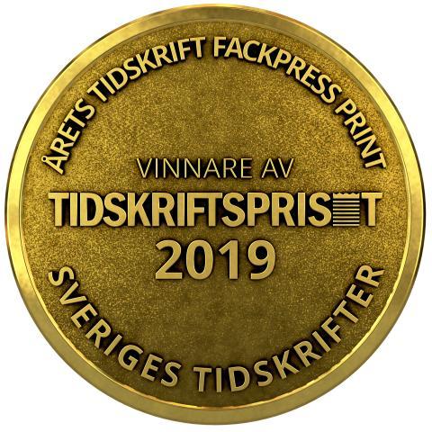 Tidskriftspriset i kategorin Årets fackpress print 2019