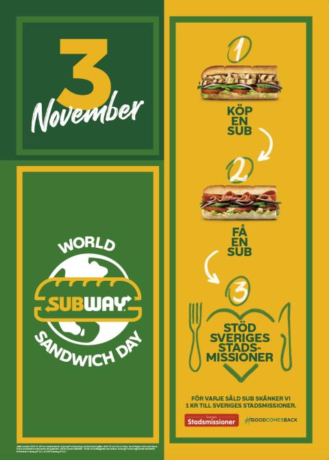 Sveriges Stadsmissioner och SUBWAY i samarbete under World Sandwich Day