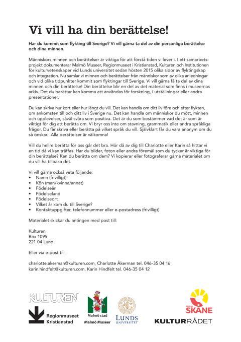 Upprop flyktingar: Vi vill ha din berättelse (pdf)