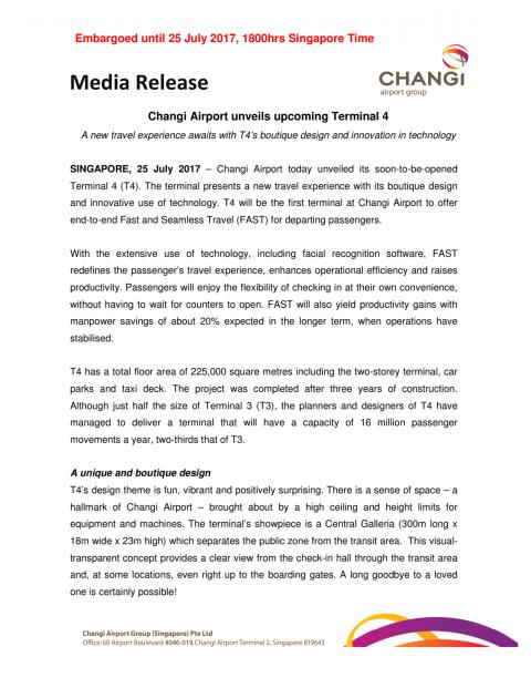Media Release - Changi Airport Unveils T4