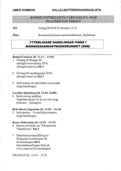 NP 2010-02-23 Kallelse och missiv