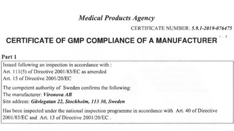 Vironova has received the world's first and only GMP certification for Electron Microscope Lab from Swedish Medical Products Agency