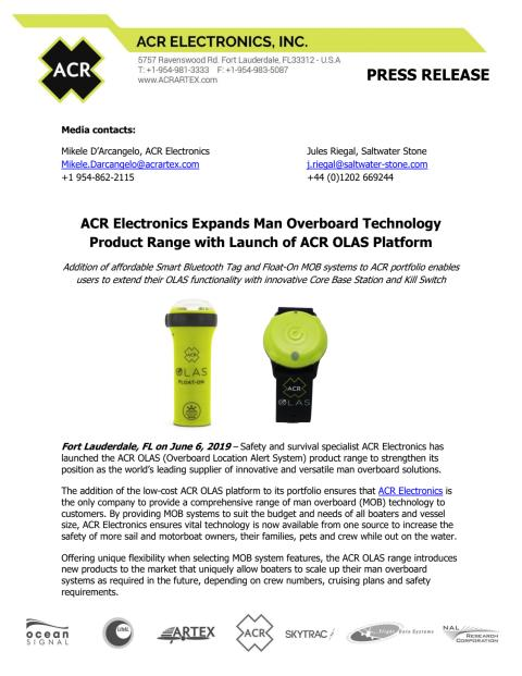 ACR Electronics Expands Man Overboard Technology Product Range with Launch of ACR OLAS Platform