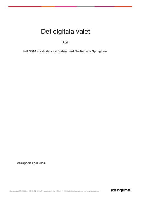 Det digitala valet - rapport för april 2014