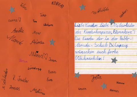 Weihnachtsaktion der Pablo-Neruda-Schule für Bärenherz