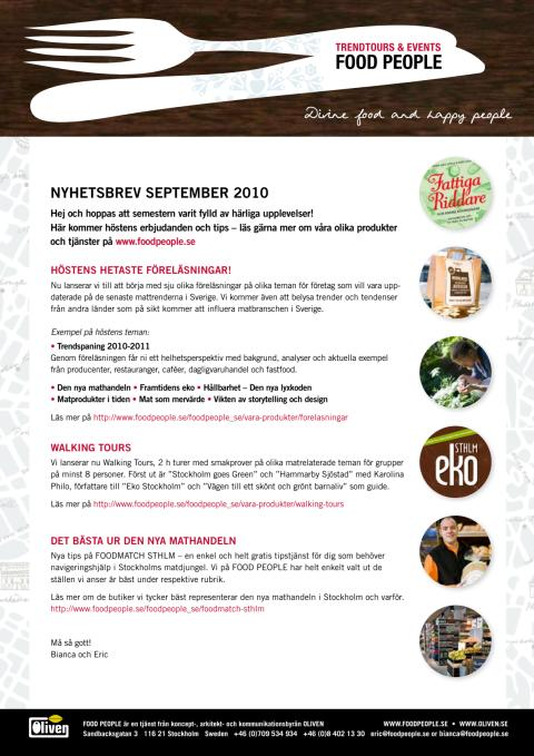 FOOD PEOPLE nyhetsbrev September 2010