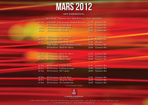 Eventkalender Mars - Clarion Hotel Stockholm
