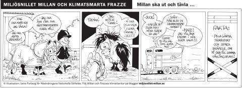 Varför får inte Millan åka själv i trailern? Se efter i Millans och Frazzes seriestripp del 5