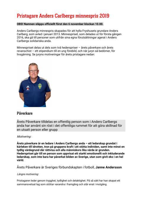 Alla pristagare Anders Carlbergs minnespris 2019