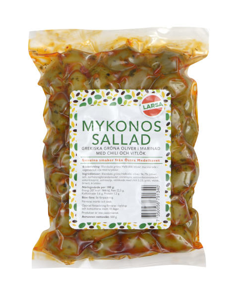 Mykonossallad – Grekiska gröna oliver i marinad med chili & vitlök