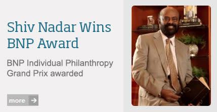 "Shiv Nadar tildelt 2013 BNP Paribas ""Grand Prix"" for individuel filantropi"