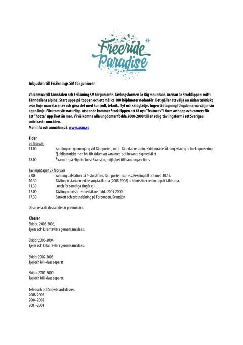 Inbjudan till SM i friåkning för juniorer i Tänndalen