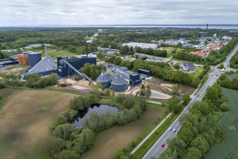 Luftfoto af Helsingør Forsynings kraftvarmeværk