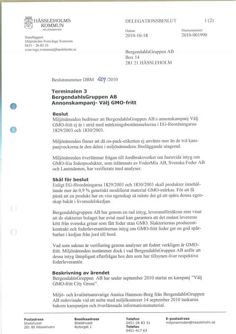 Miljönämndens delegationsbeslut om GMO