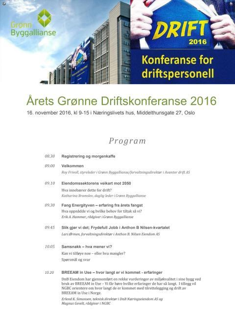 Program Årets grønne driftkonferanse 2016