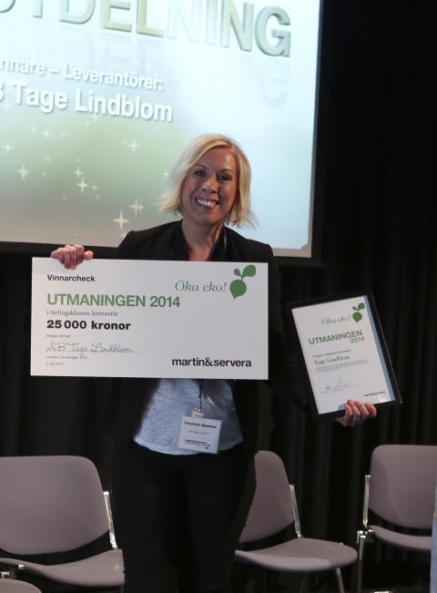 Utmaningen 2014_Vinnare tävlingsklass leverantörer_AB Tage Lindblom