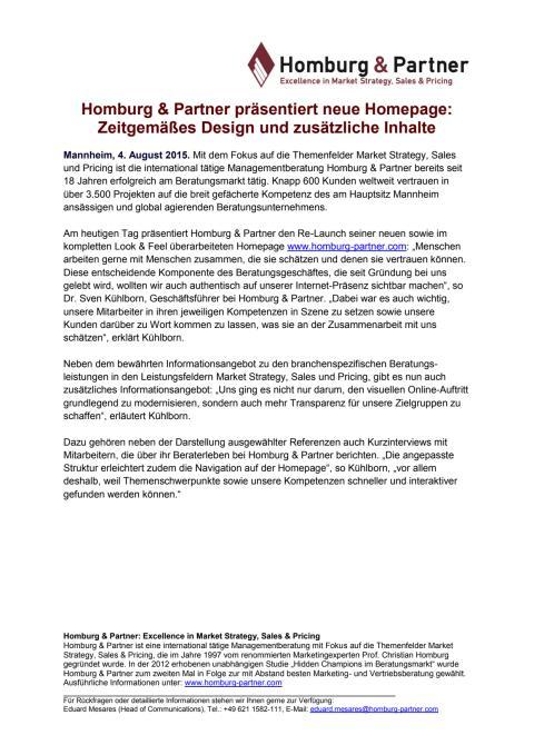 Homburg & Partner präsentiert neue Homepage: Zeitgemäßes Design und zusätzliche Inhalte