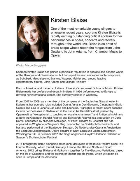 Singer Biography: Kirsten Blaise, soprano (in English)
