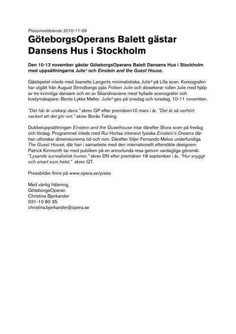 GöteborgsOperans Balett gästar Dansens Hus i Stockholm