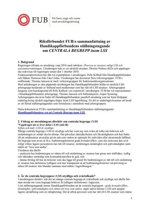 Riksförbundet FUB:s sammanfattning av Handikappförbundens ställningstagande om CENTRALA BEGREPP inom LSS