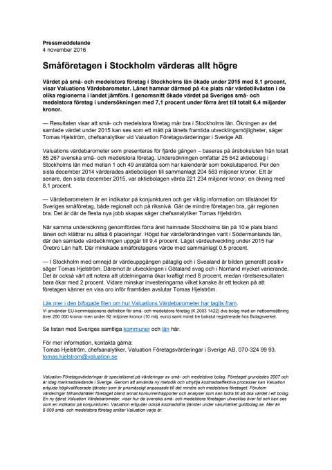 Värdebarometern 2015 Stockholms län