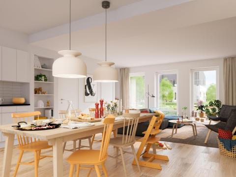 Radhuset Kvadraten, kök och vardagsrum