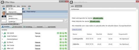 """Under """"Verktyg"""" finns fönstret för Telekonferens i Efftel Max Softphone"""