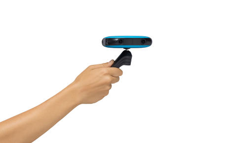 VUZE kamera blå, minipod i hånd
