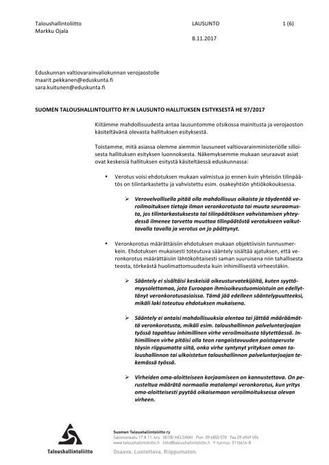 TAL lausunto: Verotusmenettely ja sanktiot 8.11.2017