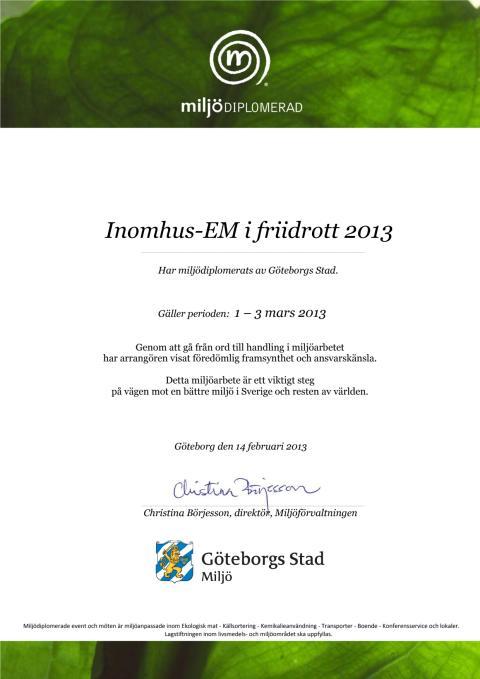 Miljödiplom för inomhus EM i friidrott